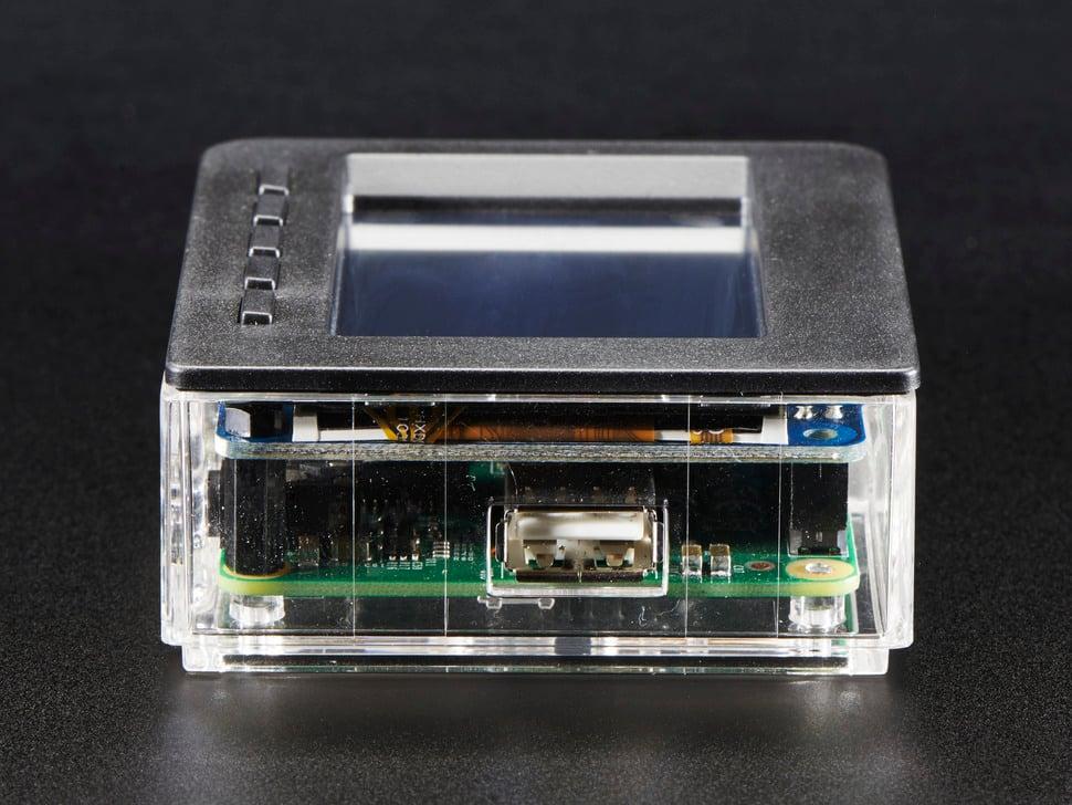 Angled shot featuring Pi USB port.