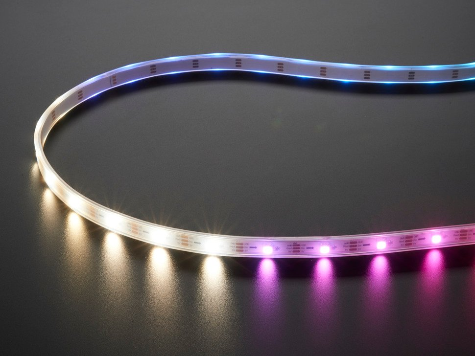 Adafruit NeoPixel Digital RGB LED Strip with different rainbow and white lights