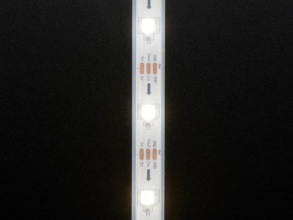 Detail of top of LED strip lit up