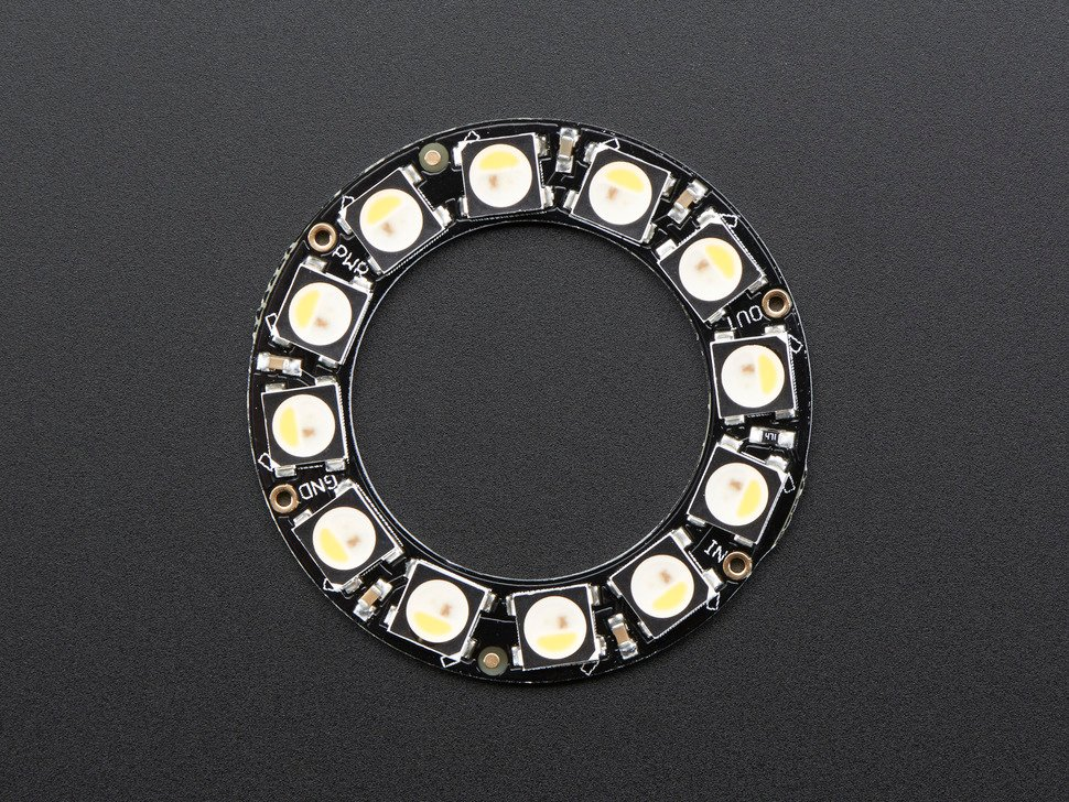 Top down detail of NeoPixel ring