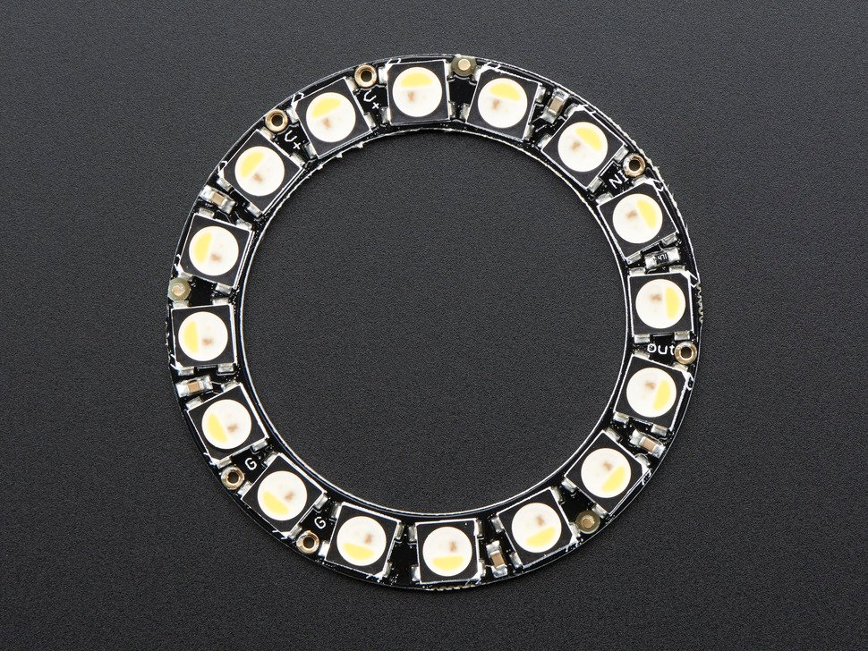 NeoPixel Ring - 16 x 5050 RGBW LEDs w/ Integrated Drivers - Warm White - ~3000K