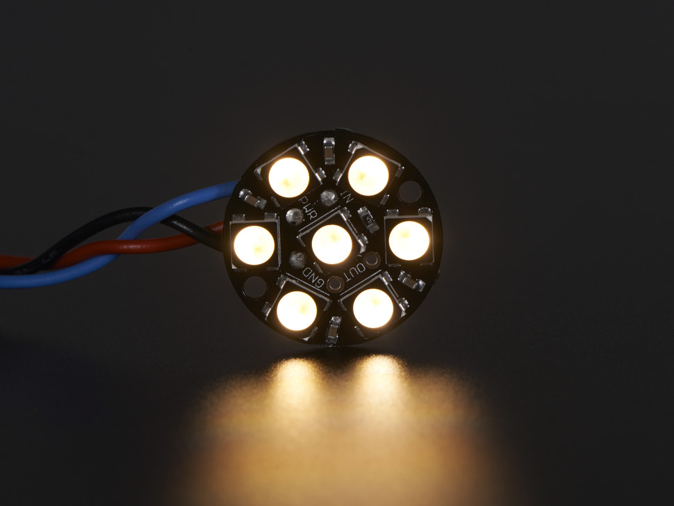 LEDs wired to Trinket, lit up white