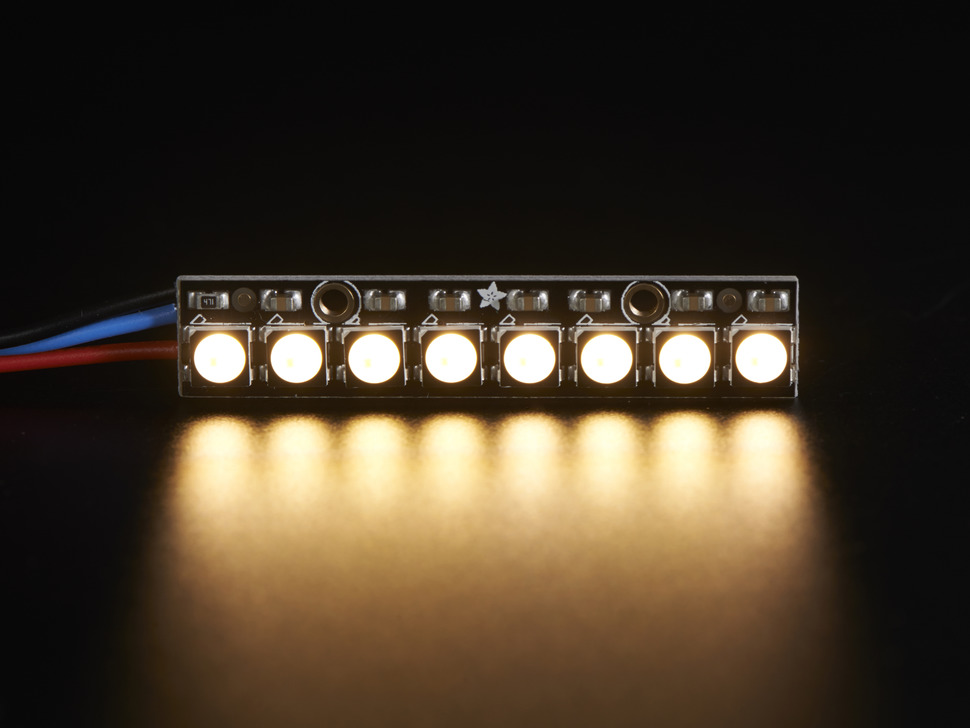 NeoPixel Stick - 8 x 5050 RGBW LEDs - Warm White - ~3000K
