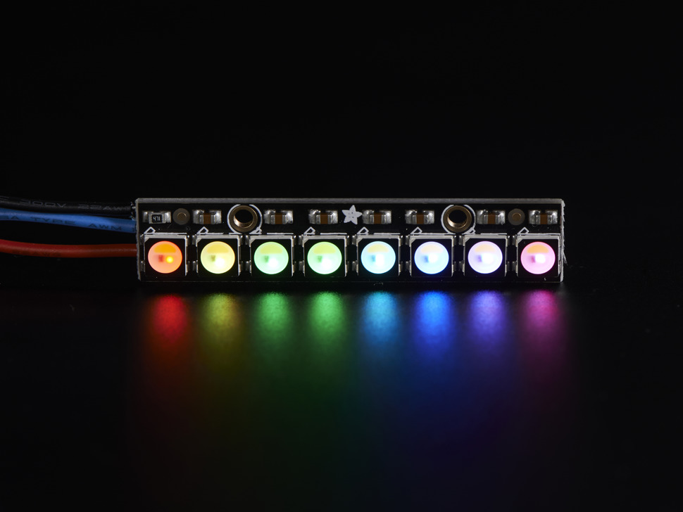 NeoPixel Stick lit up rainbow