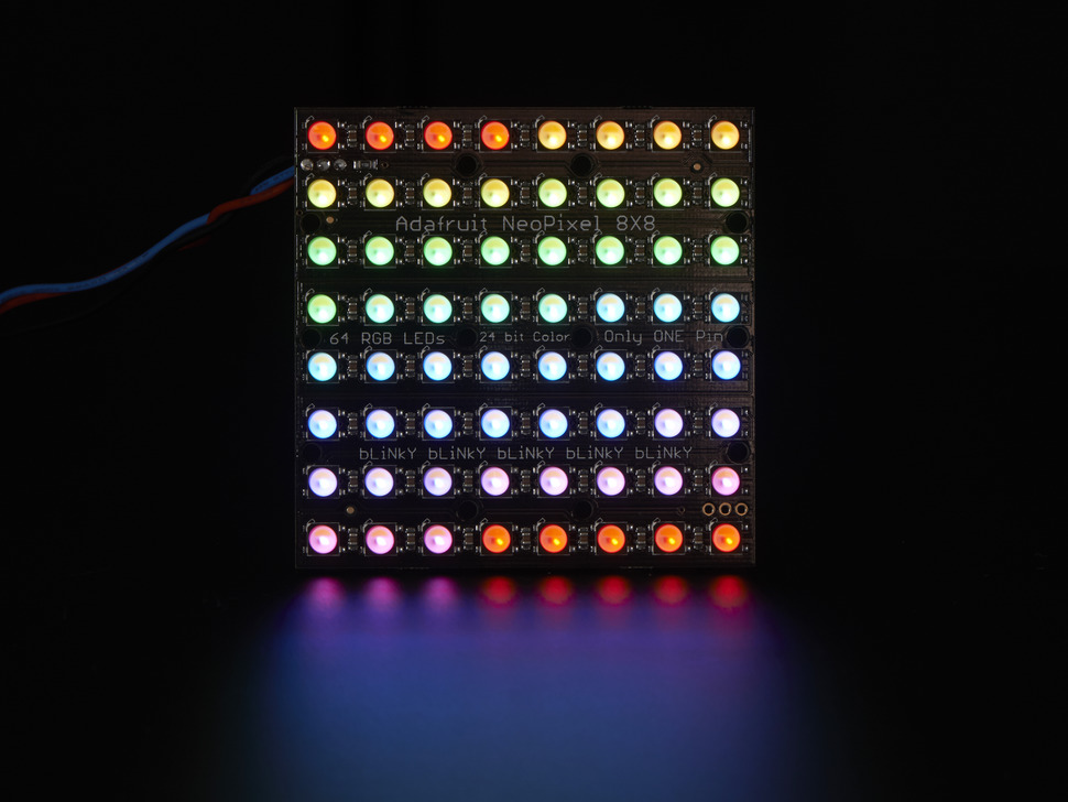 64 RGBW LED Pixel Matrix lit up rainbow