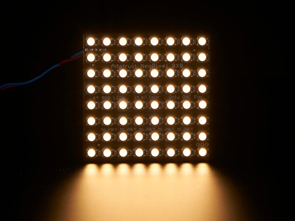 64 RGBW LED Pixel Matrix lit up white