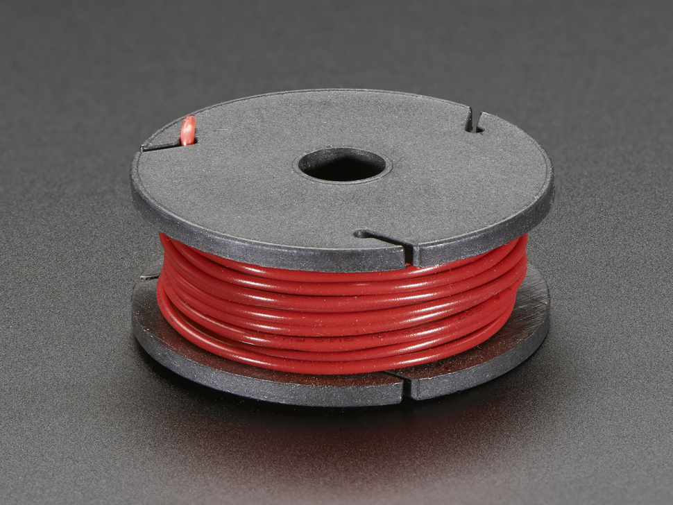 Solid-Core Wire Spool - 25ft - 22AWG - Red