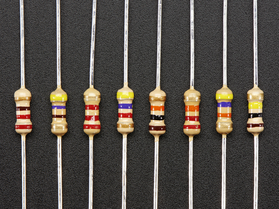 Through-Hole Resistors - 220 ohm-100K ohm - 5% 1/4W - Packs of 25