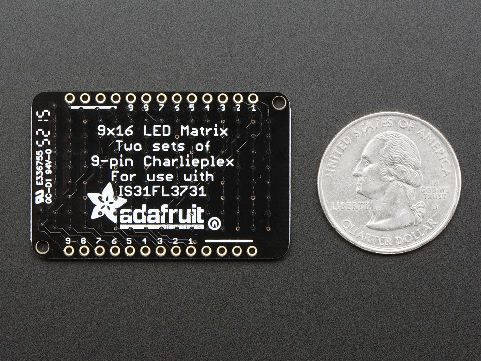 LED Charlieplexed Matrix - 9x16 LEDs - Yellow