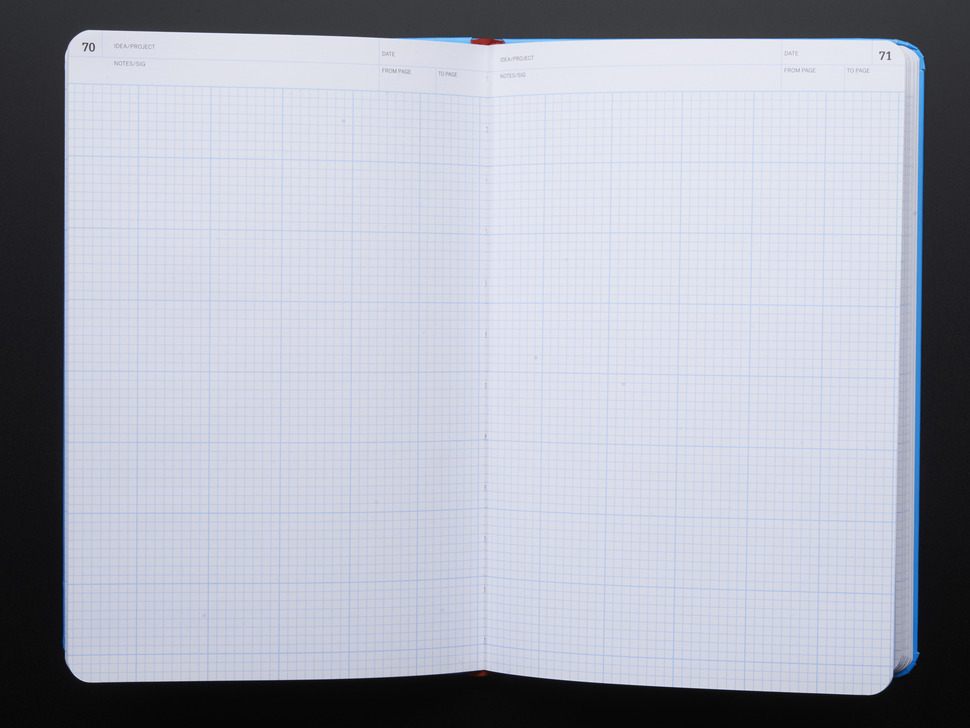 Inside showing gridded pages