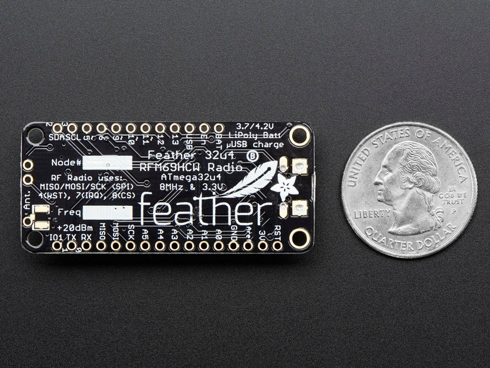 Adafruit Feather 32u4 RFM69HCW Packet Radio - 868 or 915 MHz - RadioFruit