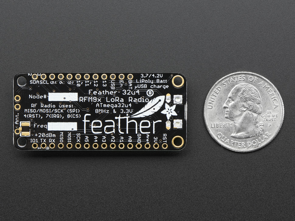 Adafruit Feather 32u4 RFM95 LoRa Radio- 868 or 915 MHz - RadioFruit