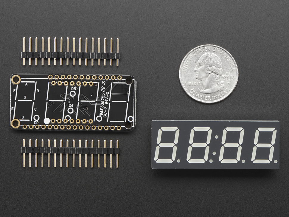 "Adafruit 0.56"" 4-Digit 7-Segment FeatherWing Display - Red"