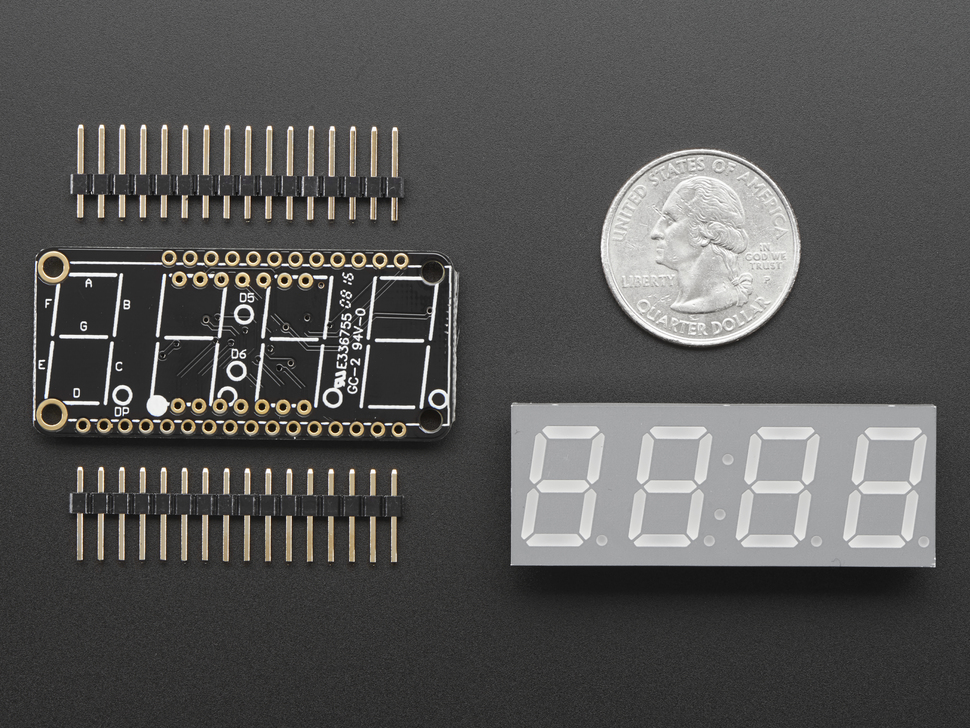 "Adafruit 0.56"" 4-Digit 7-Segment FeatherWing Display - Yellow"