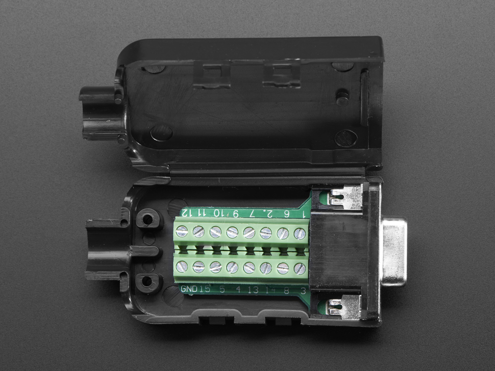 DE-15 (DB-15) Female Socket to Terminal Block Breakout