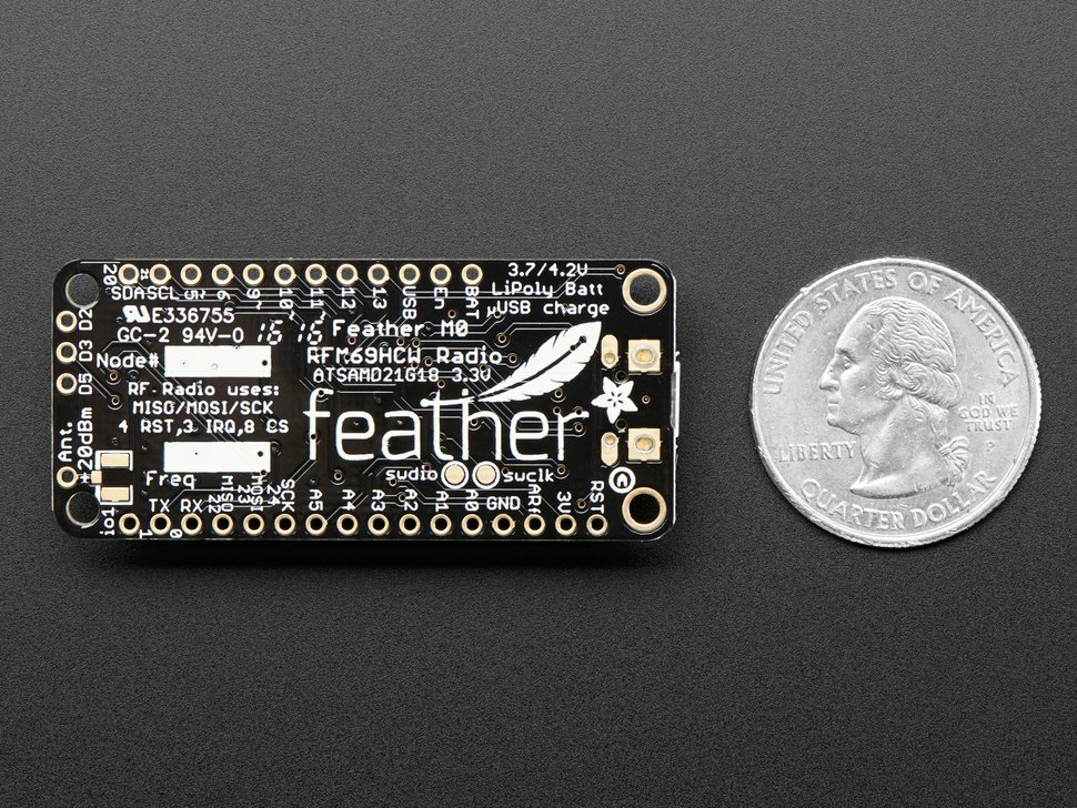 Adafruit Feather M0 RFM69HCW Packet Radio - 433MHz - RadioFruit