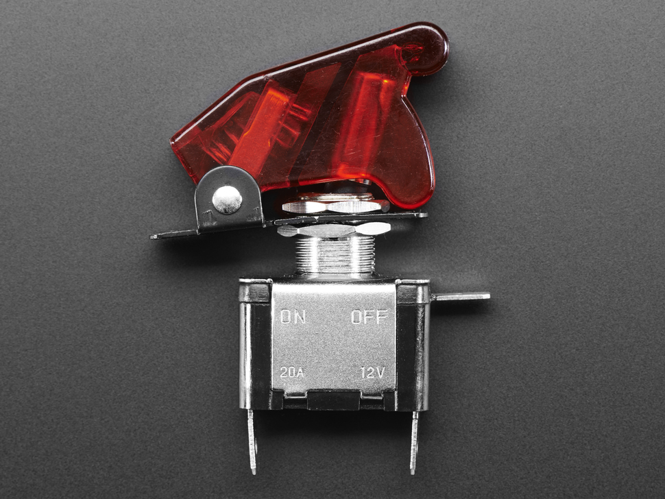 Illuminated Toggle Switch with Cover - Red
