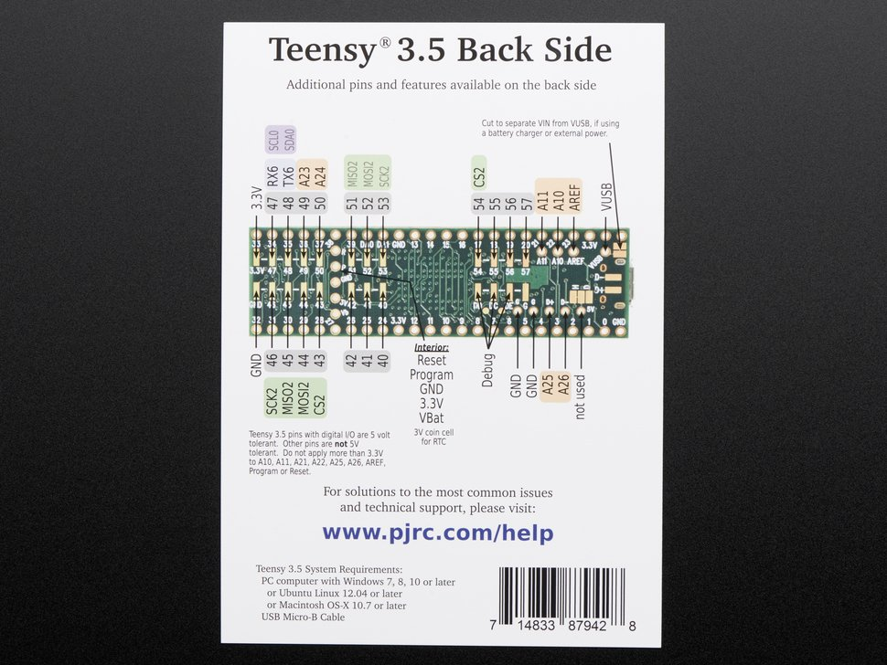 Teensy 3.5 without headers