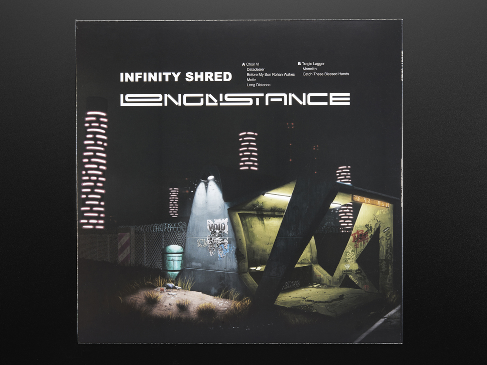 """Back of album cover of Infinity Shred - """"Long Distance Adafruit Edition"""""""