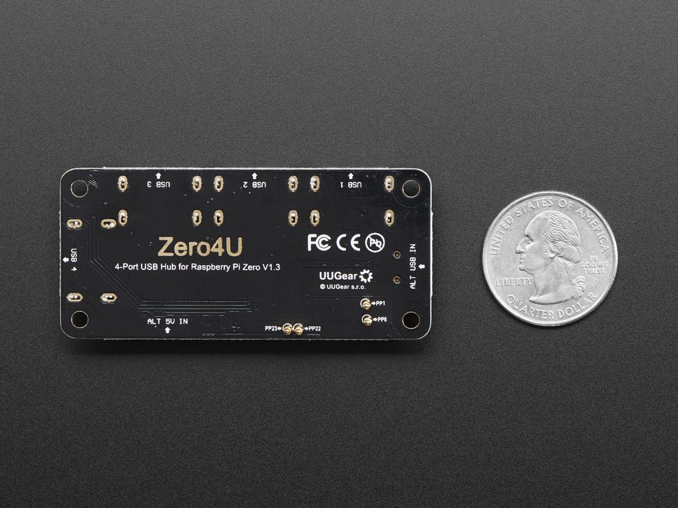 Zero4U - 4 Port USB Hub for Raspberry Pi Zero v1.3