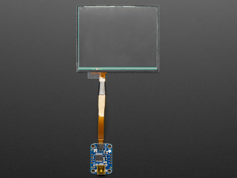 Touch screen cable connected to breakout board