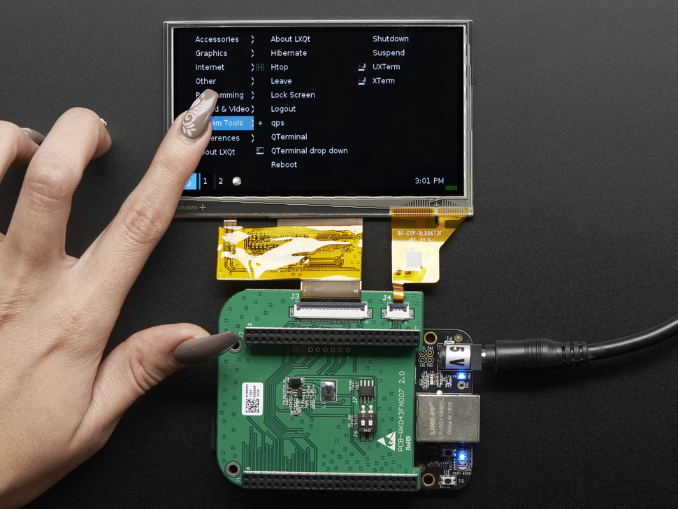 Hand touching 4.3 inch LCD Capacitive Touchscreen Display Cape for BeagleBone