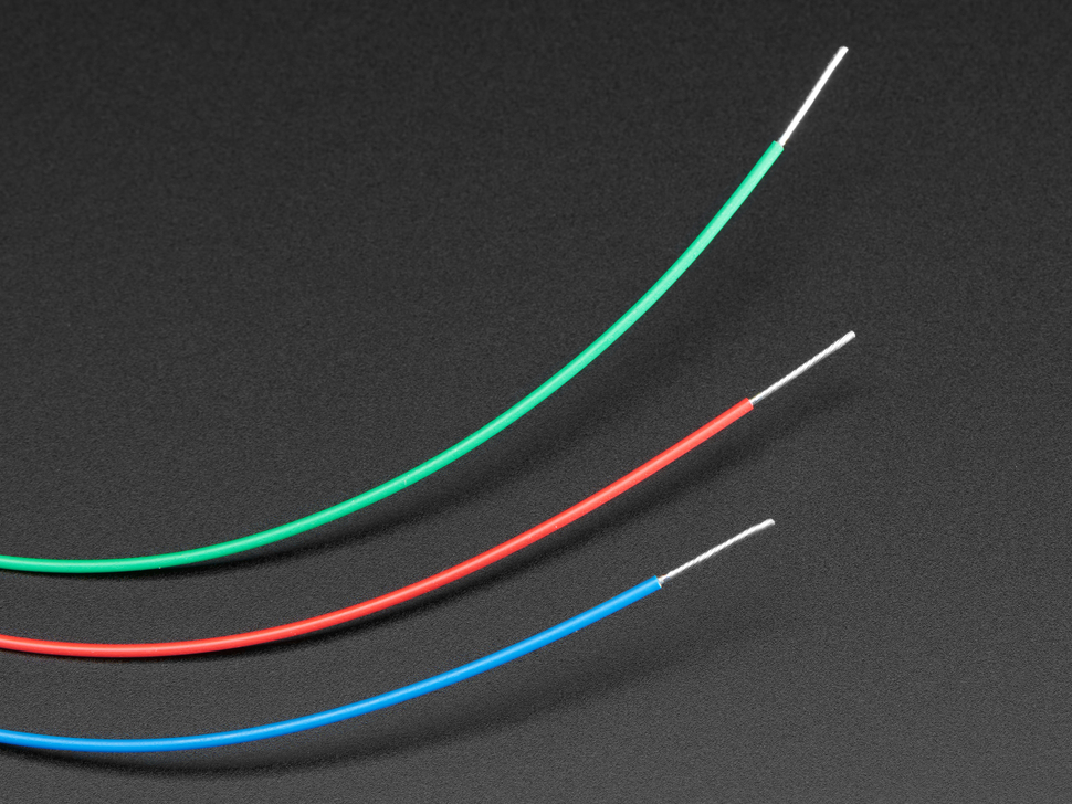Close up of three colored wires