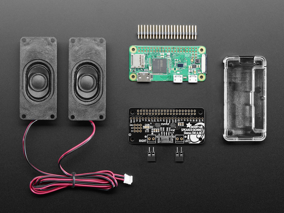Stereo Bonnet Pack for Raspberry Pi Zero W - Includes Pi Zero W