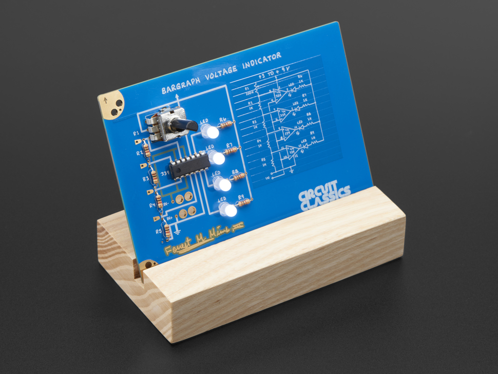 Assembled Circuit Classics Bargraph Voltage Indicator in wooden stand