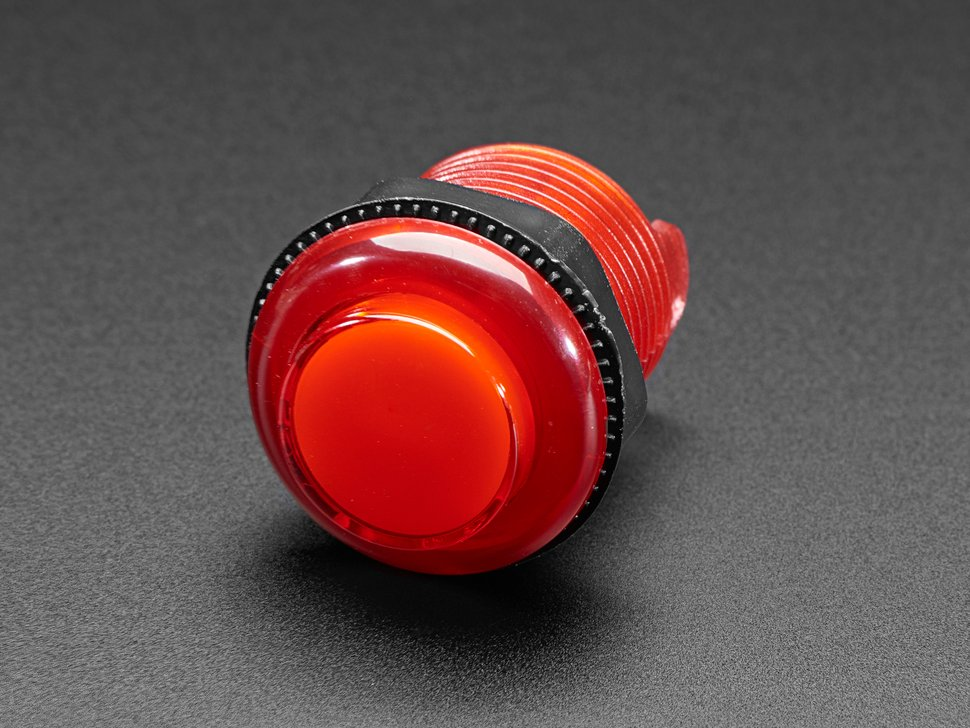 Angled closeup of 30mm translucent red LED arcade button