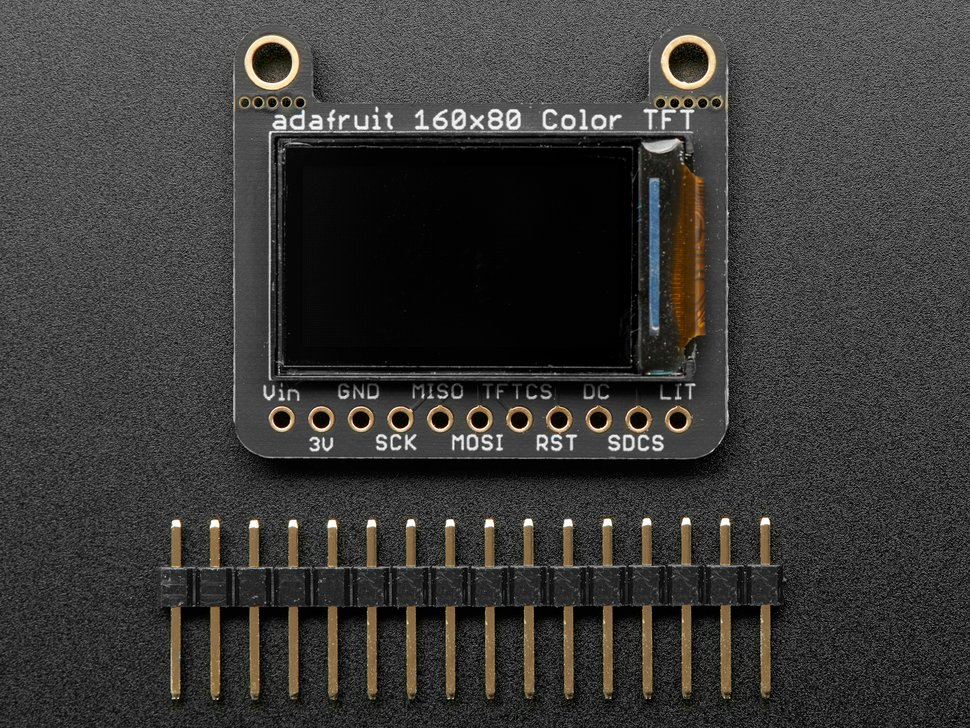 "Adafruit 0.96"" 160x80 Color TFT Display w/ MicroSD Card Breakout - ST7735"