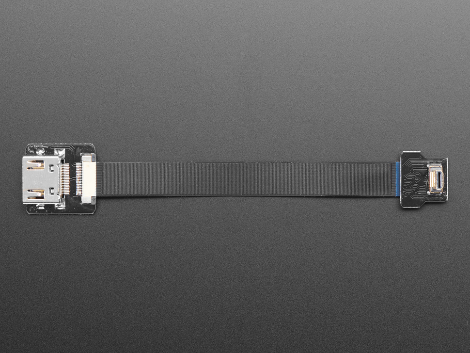 Ribbon Cable connected with HDMI plug adapter