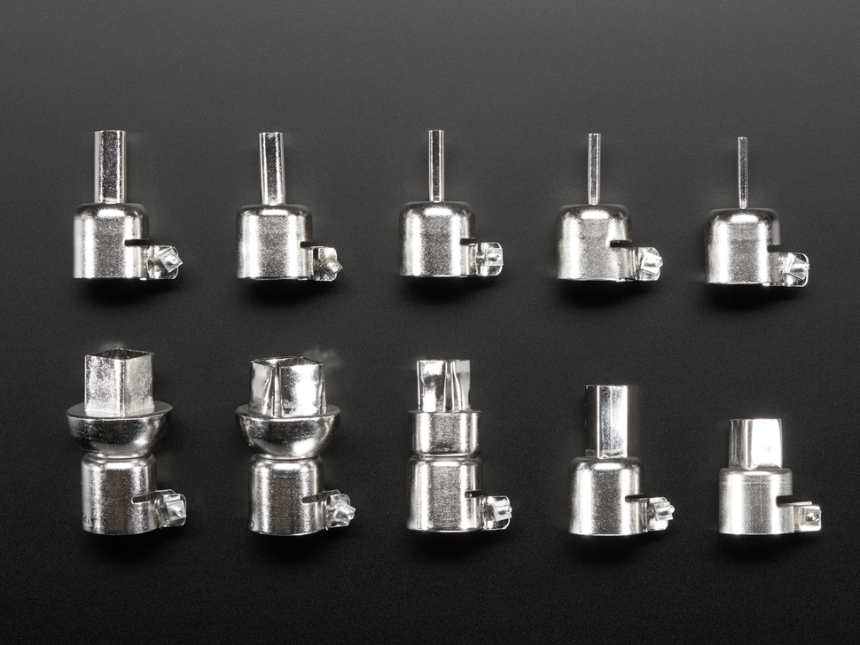 Profiles of 10 hot air wand tips, with various sizes and shapes