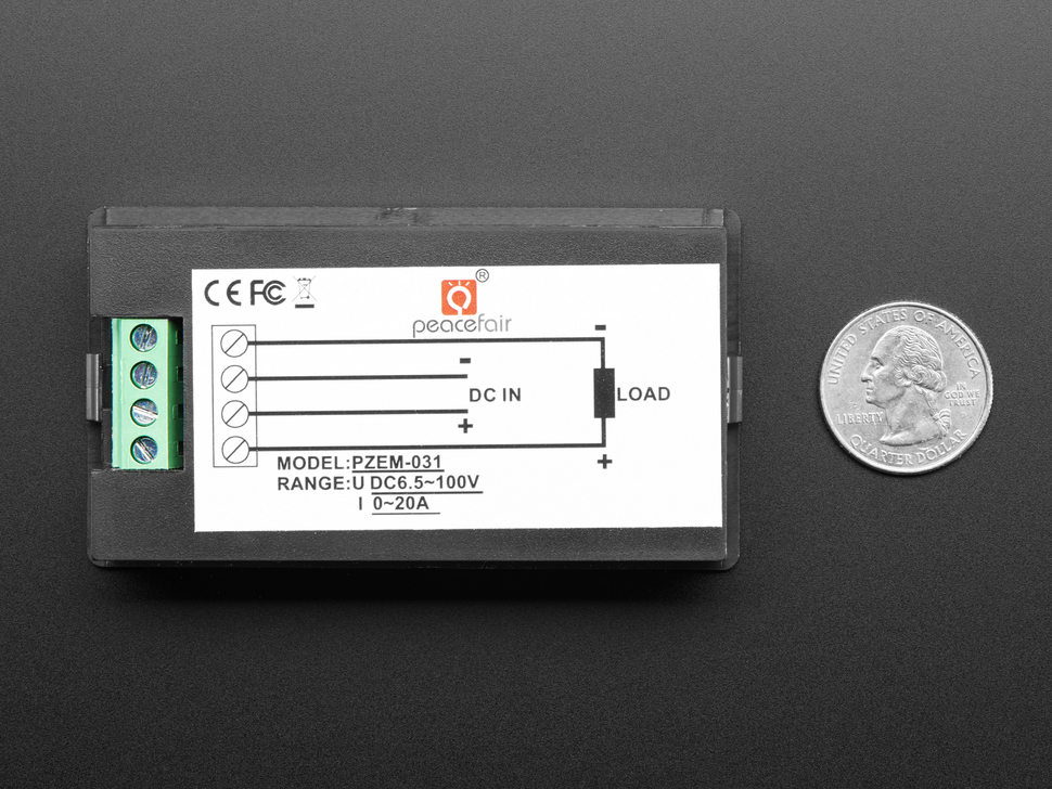 Large Panel-Mount Digital Power Meter - 6.5V to 100VDC up to 20A