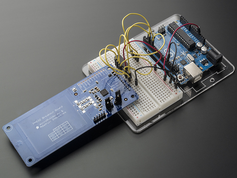 Breakout wired up to an Arduino on a breadboard