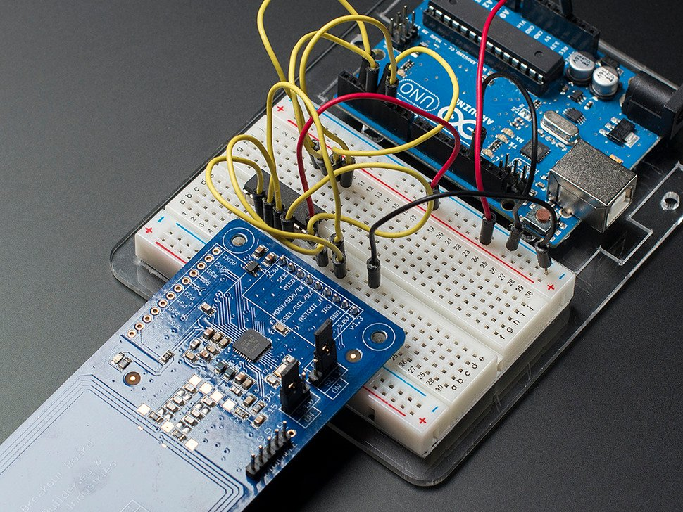 Close up of wiring to Arduino on a breadboard