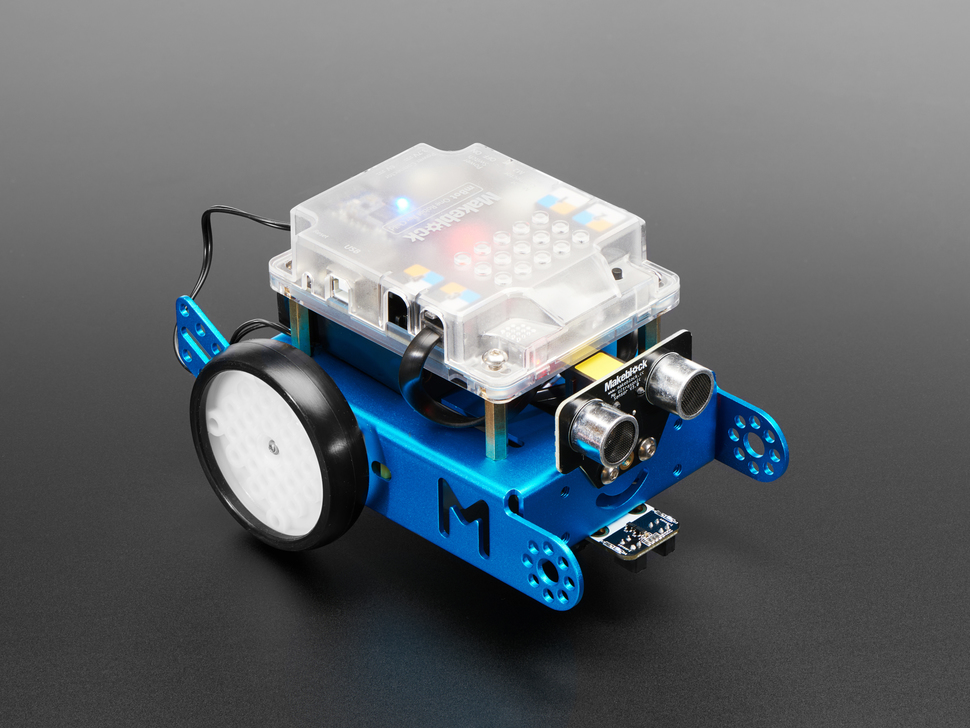 Angled shot of two-wheeled robot bot with large plastic enclosure on top.