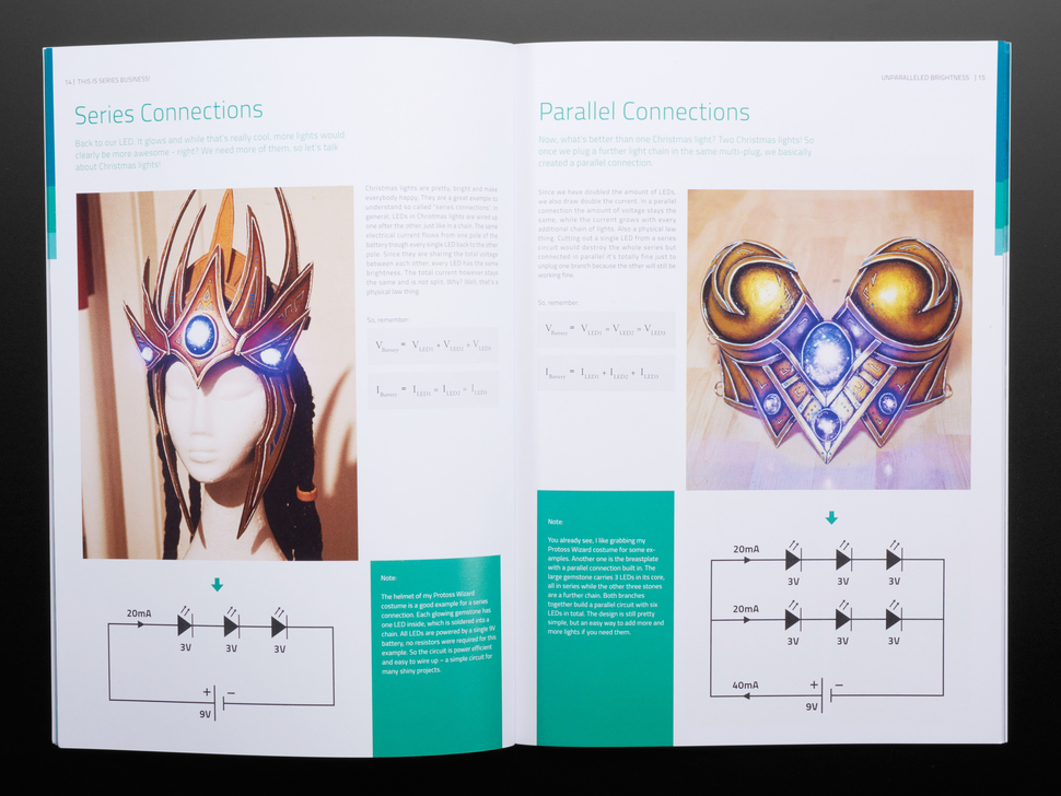 Open book spread featuring series connections and parallel connections on cosplay foam armor pieces.