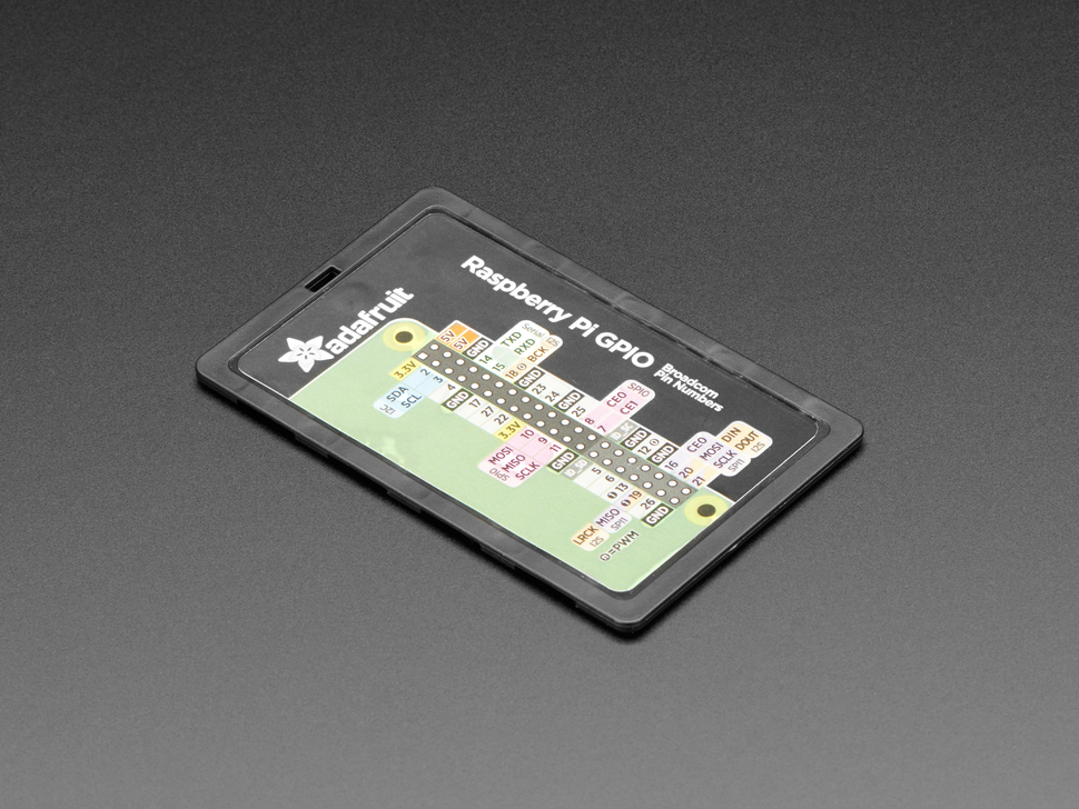 Angled shot of opposite side of the microSD card holder. Features a Pi GPIO pinout diagram
