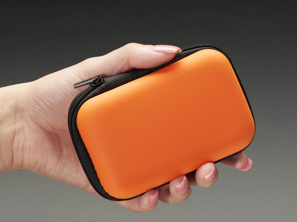 Hand holding closed zipper case