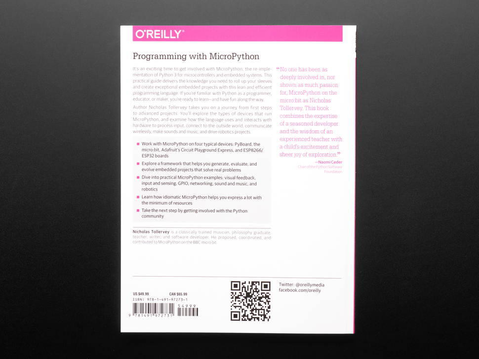 """Back cover of """"Programming with MicroPython"""" by Nicholas H. Tollervey"""