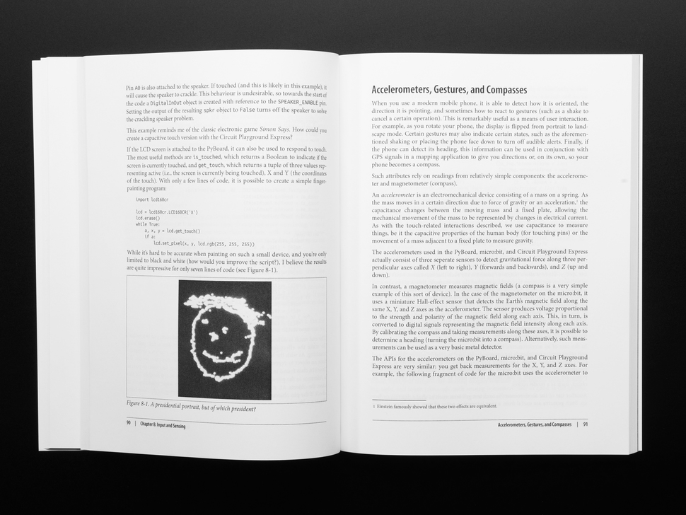 Two technical pages on accelerometers, gestures, and compasses.