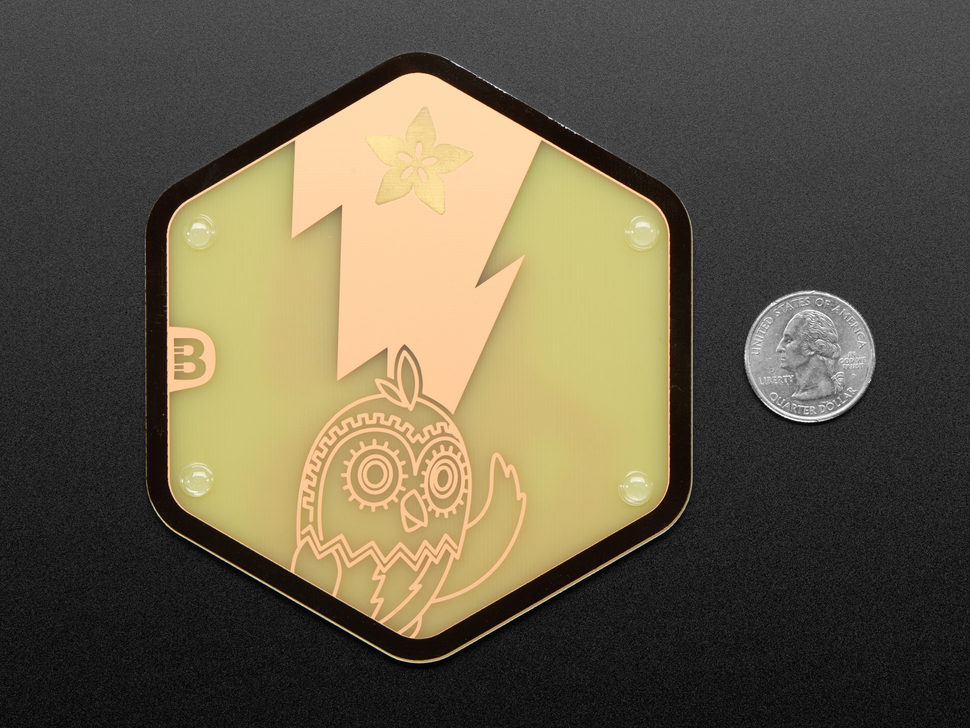 PCB coaster featuring a friendly owl next to a US quarter.