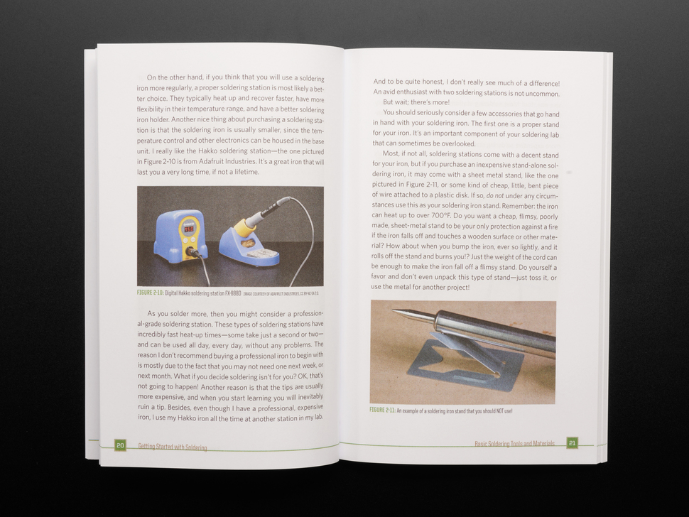 Open book spread featuring a Hakko soldering station.