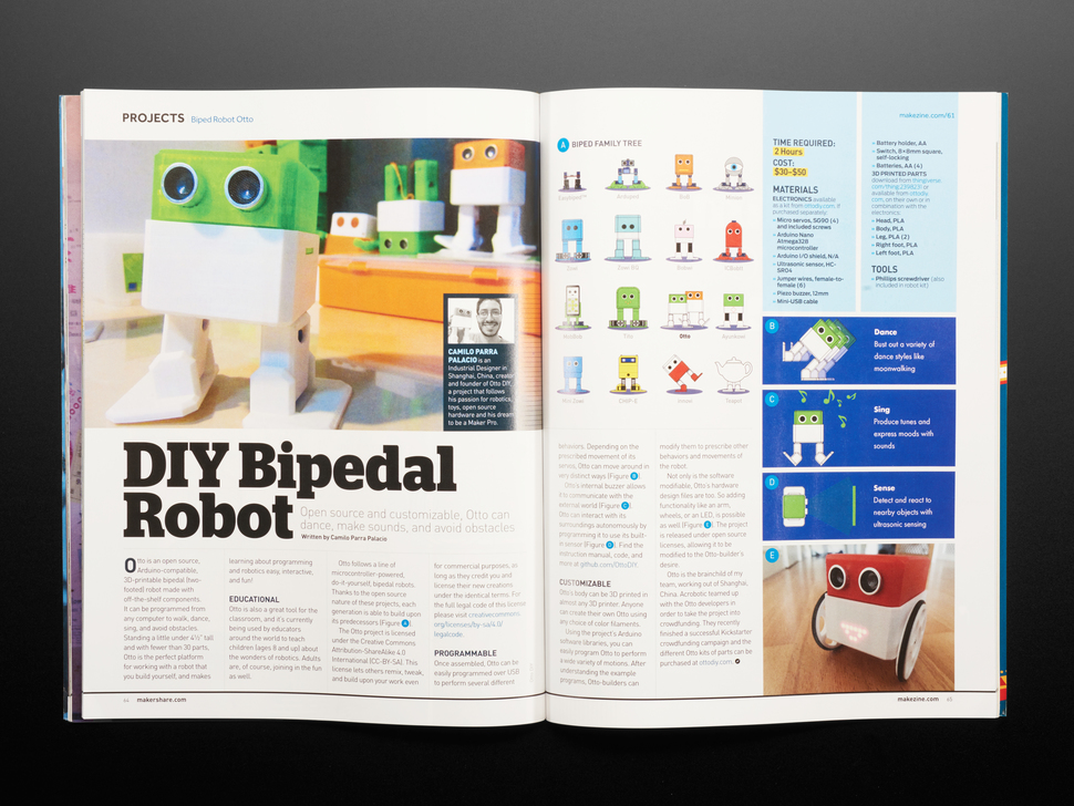 Open magazine spread featuring tutorial DIY Bipedal Robot.