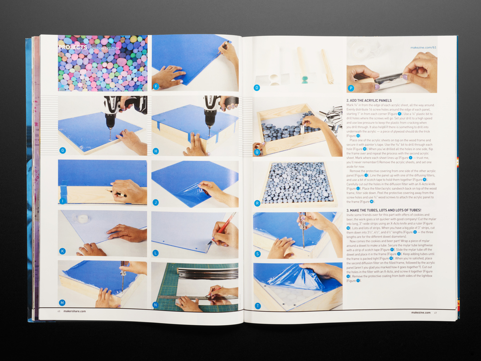 Open magazine spread to article with acrylic panel tutorial.