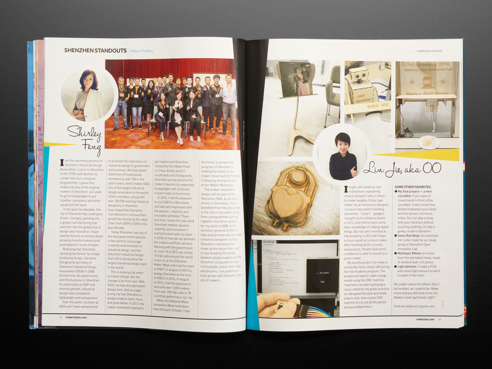 Open magazine spread featuring two Chinese engineers, Shirley Feng and Liu Jie.