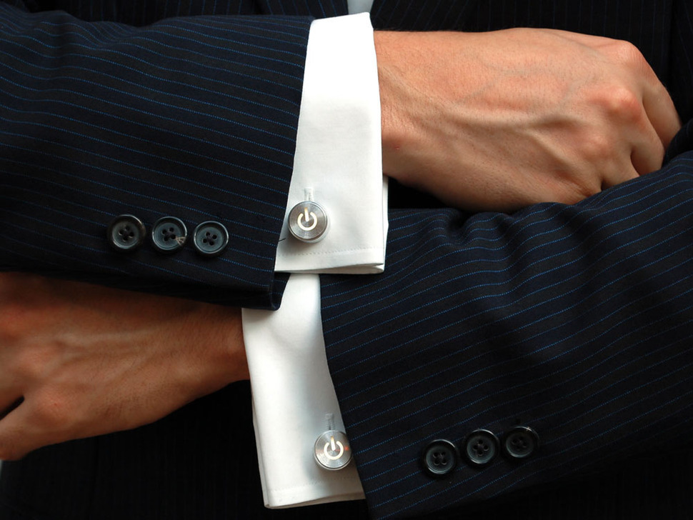 Close up of man wearing the cufflinks