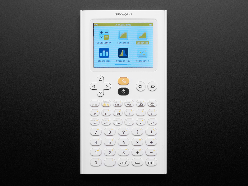 NumWorks Graphing Calculator powered on and showing apps