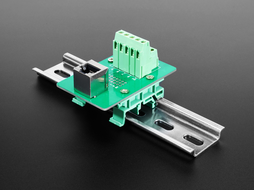 DIN Rail mountable RJ-45 To Terminal Block Adapter